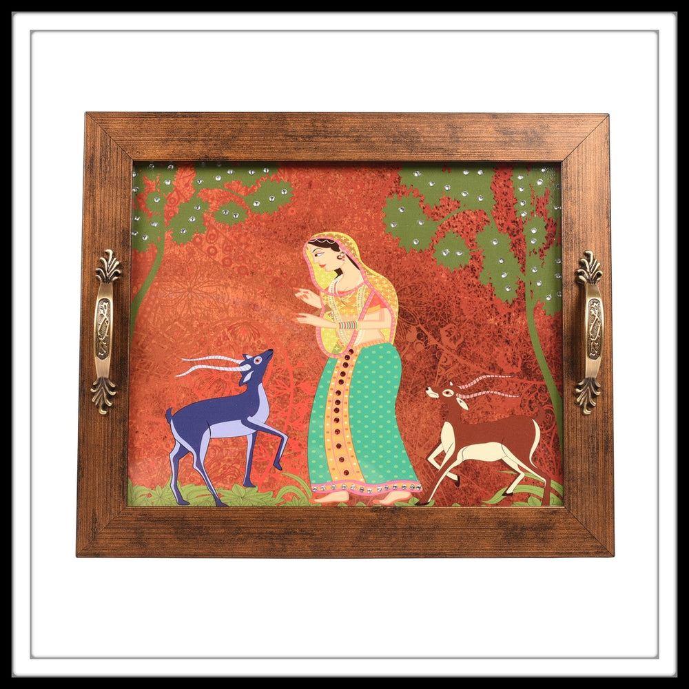 Queen in the Jungle with Deer Rectangular Tray