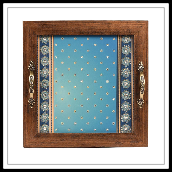 Bedazzled Blue Square Tray - Footprints Forever