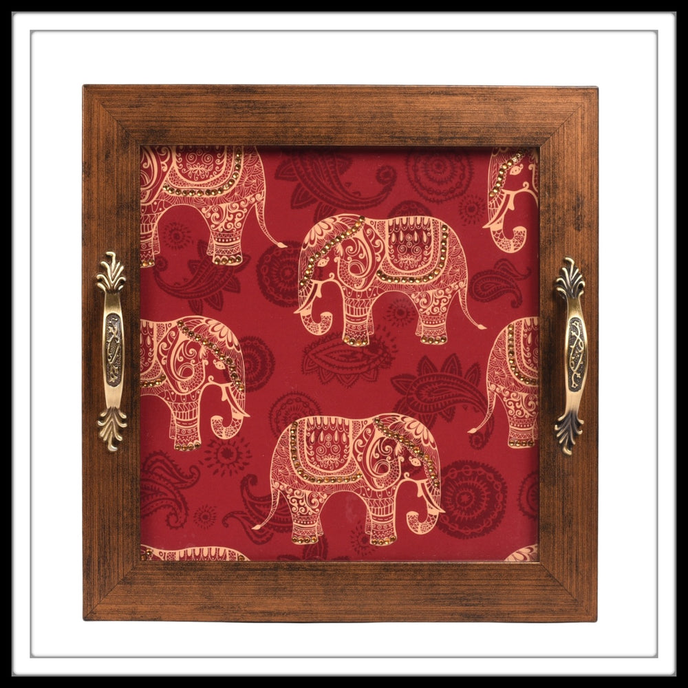 Red Elephant Square Tray - Footprints Forever