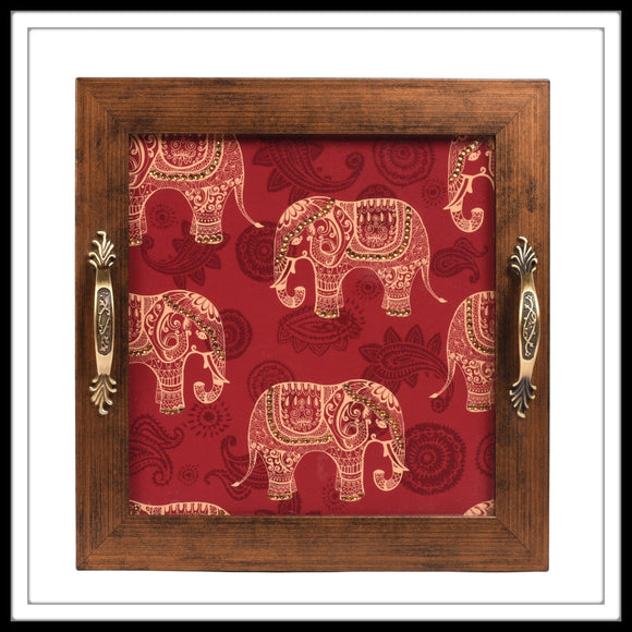 Red Elephant print bedazzled square tray for gifting and home use