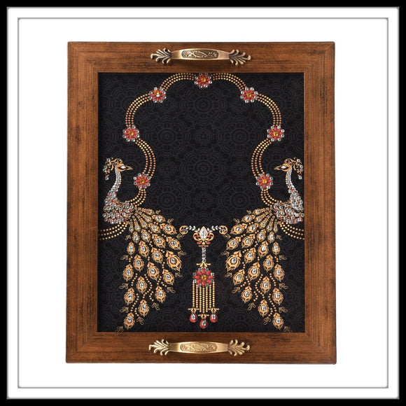 Black Peacock Rectangular Tray