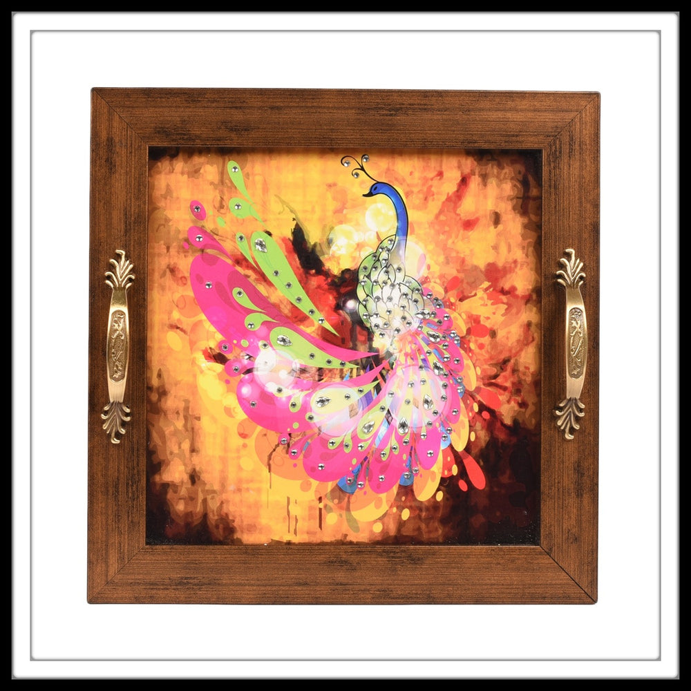 pink and yellow bedazzled peacock print square tray for home and gifting
