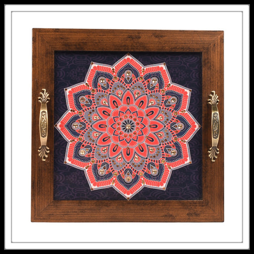 Navy Blue & Red Mandala Square Tray - Footprints Forever