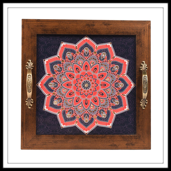 NAVY BLUE & RED MANDALA SQUARE TRAY