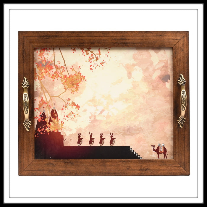 Wooden tray with a temple sunset scene with dancers performing and a camel in the background. The tray is hand embellished with crystals suitable for gifting and home decor.