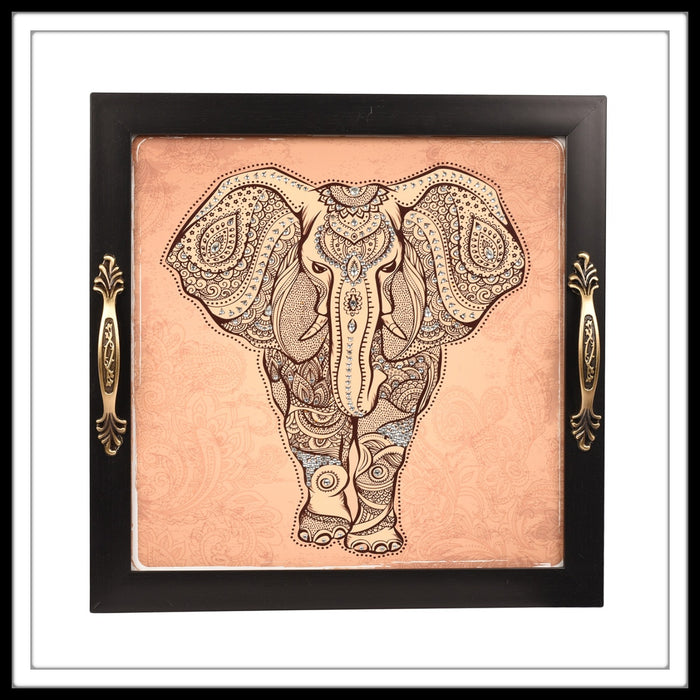 Indian  print bedazzled elephant decorative tray for home and gifting