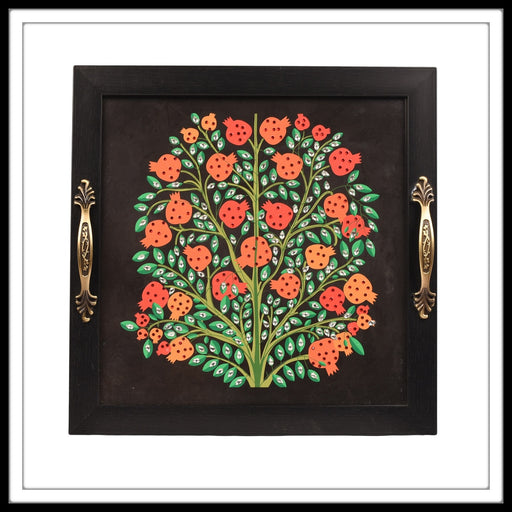 handmade embellished decorative tray with the colourful Pomegranate tree on black background