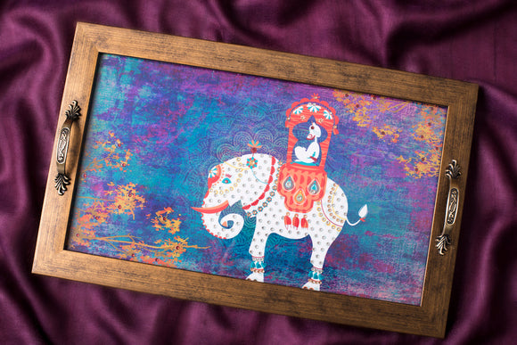 Gift tray with King on elephant print embellished with diamante