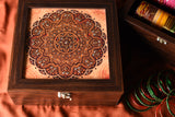 Wooden Rust Mandala  print bangle box