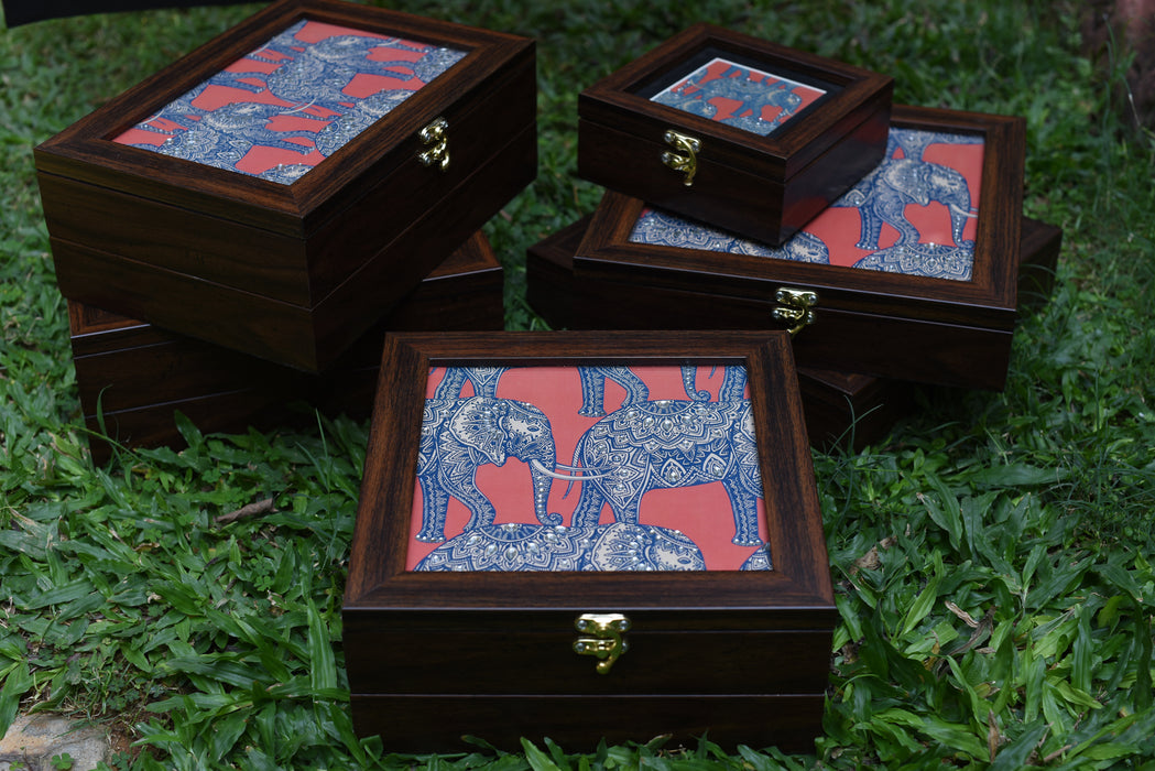 set of wooden large multipurpose boxes with batik elephant print, ideal for gifting and home use