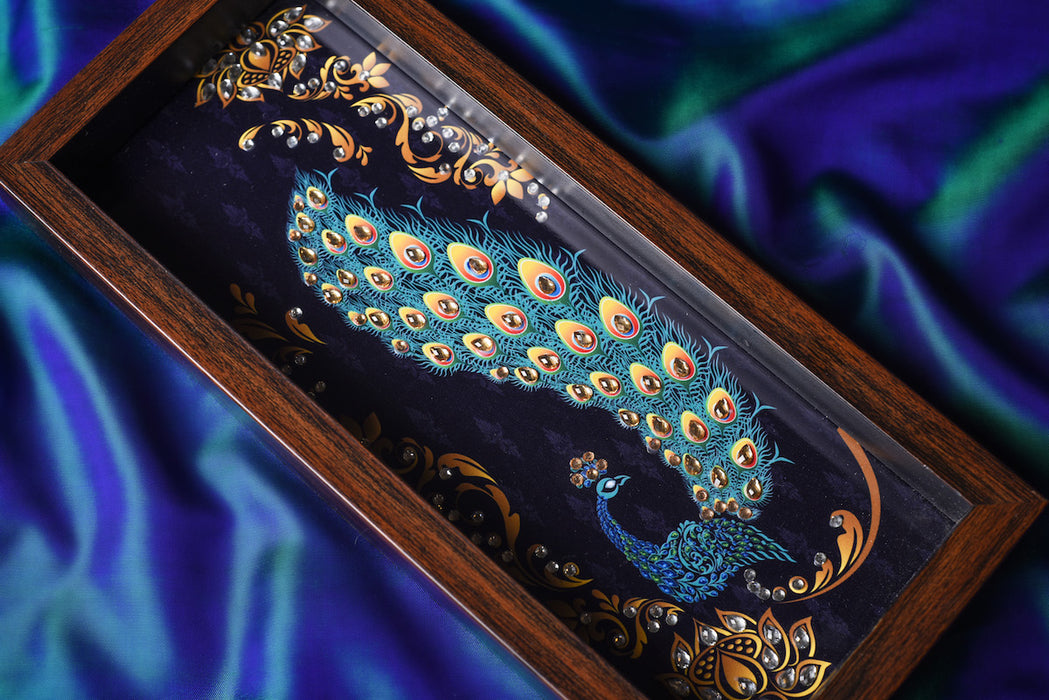 Blue Peacock Box Tray - Footprints Forever
