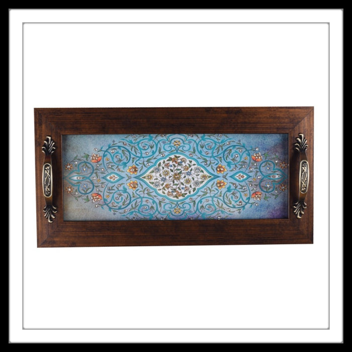 Light Blue Mughal Motif Long Tray - Footprints Forever