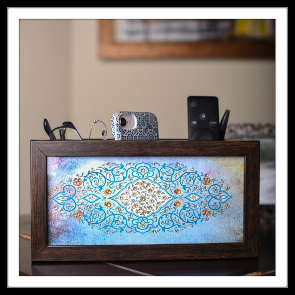 Light Blue Mughal Motif Organizer - Footprints Forever