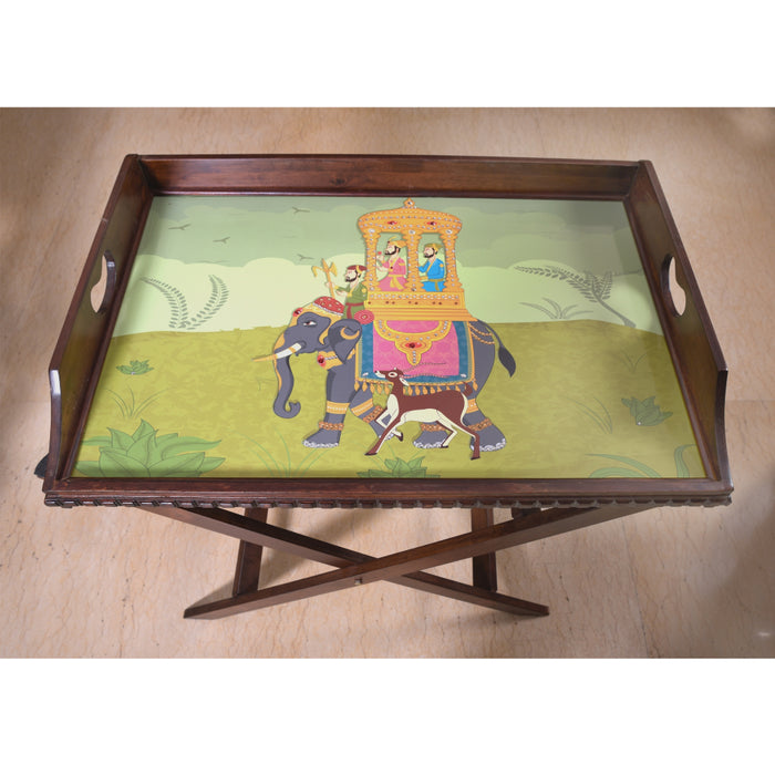 Green Elephant Butler Tray with Trestle Stand