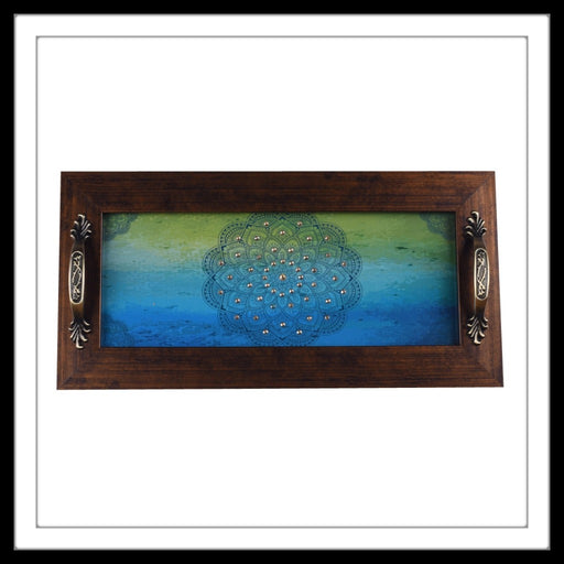 Blue And Green Mandala Long Tray - Footprints Forever