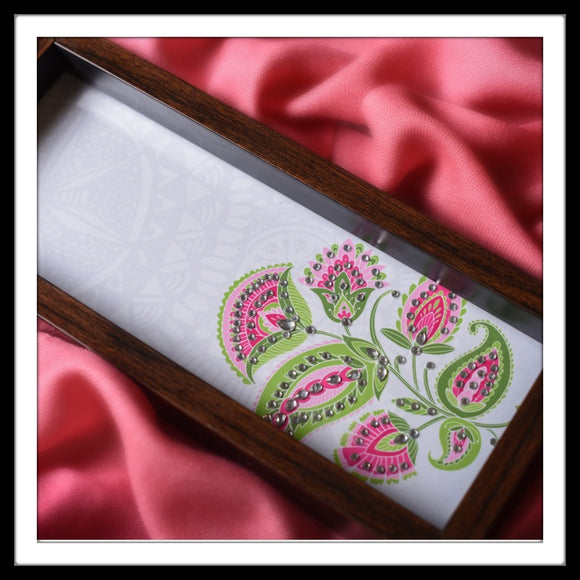 handmade multipurpose white tray with pink floral print hand embellished with crystals.