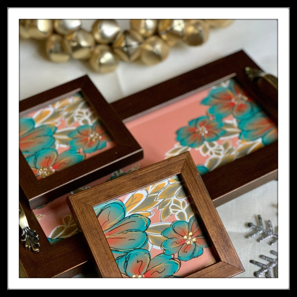 Peach Floral Tray & 2 Coasters