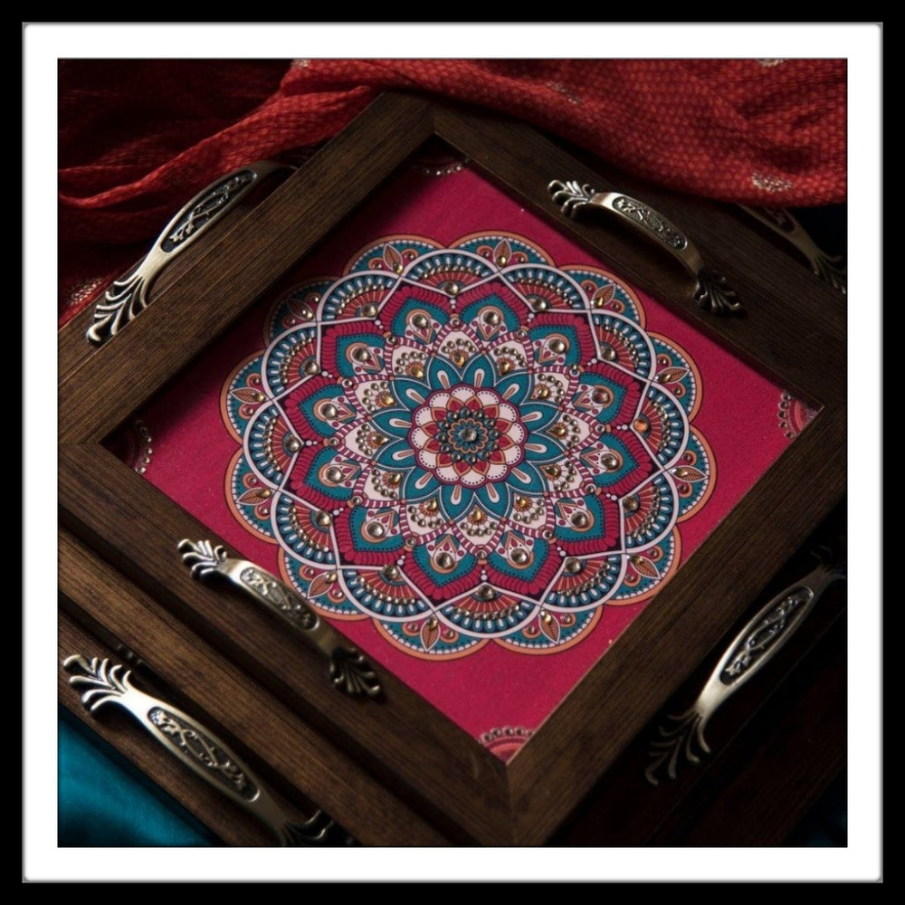 Bright Mandala Square Tray Set (3) - Footprints Forever