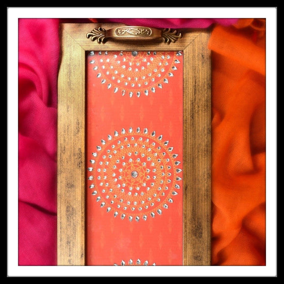 Decorative long tray with orange mandala for gifting