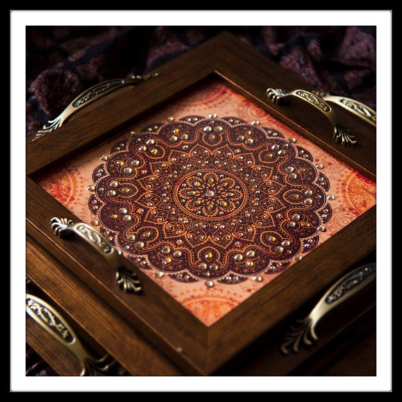 Set of 3  brown mandala  trays hand embellished with sequins ideal for gifting and home decor.