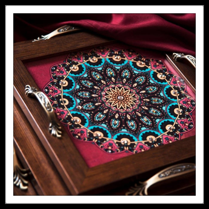 Traditional Mandala Square Tray Set (3) - Footprints Forever