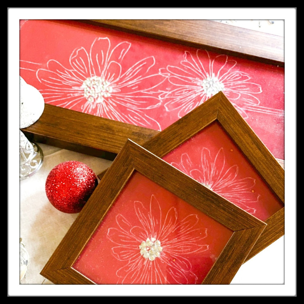 Red & White Floral Tray & 2 Coasters Set