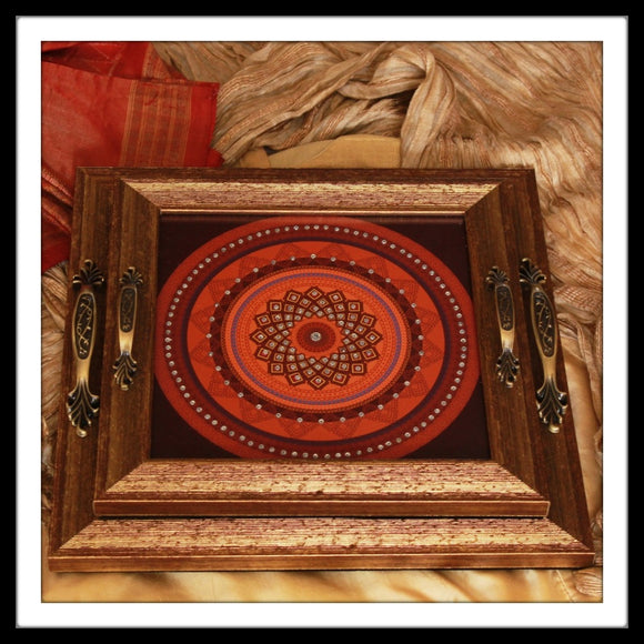 Square handmade hand embellished vanity tray set with red mandala on black background for gifting.