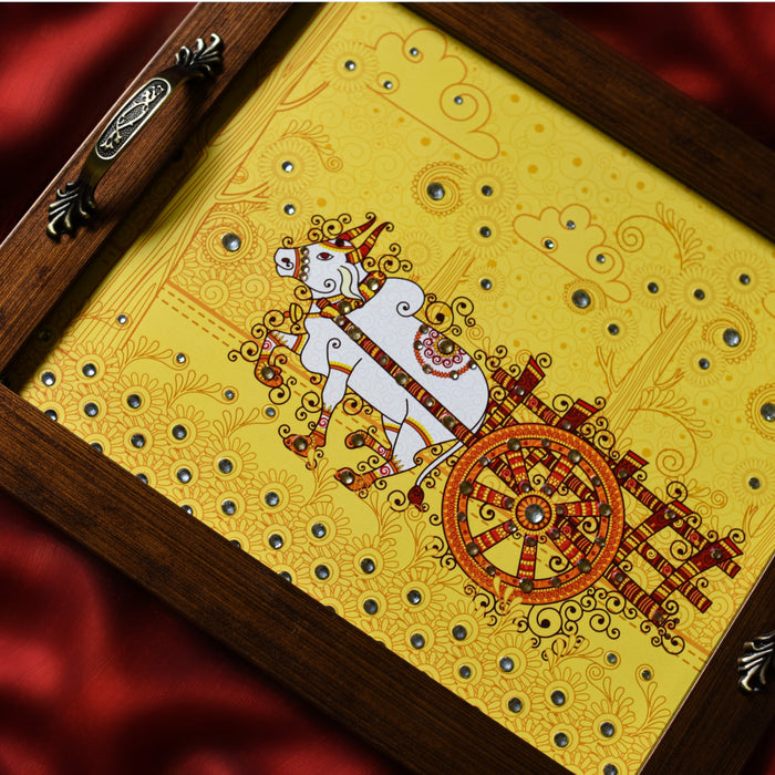 Bullock Cart Rectangular Tray - Footprints Forever