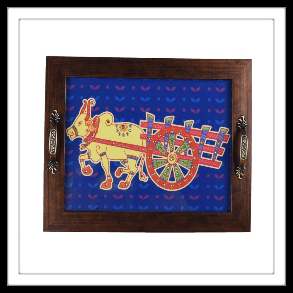 Blue Bullock Cart Rectangular Tray - Footprints Forever