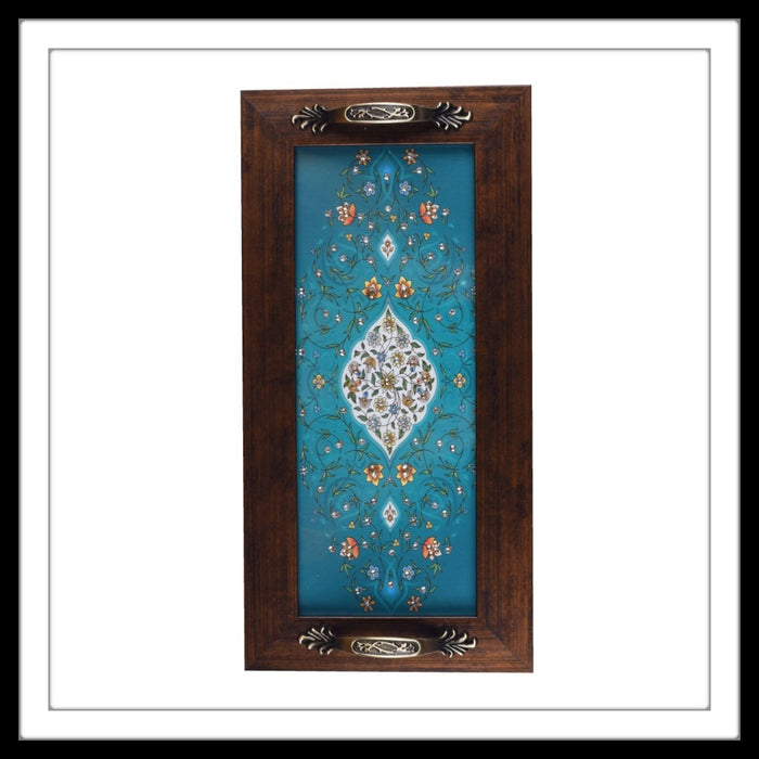 Teal Mughal Motif Long Tray - Footprints Forever