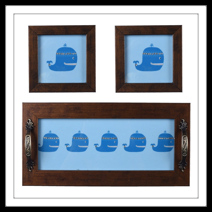 Handmade wooden  tray and coasters set with blue whales print crystal work, suitable for gifting children