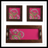 Wooden tray and 2 coasters set in pink background with light pink floral print, hand embellished with stones. Ideal for gifting or home decor.