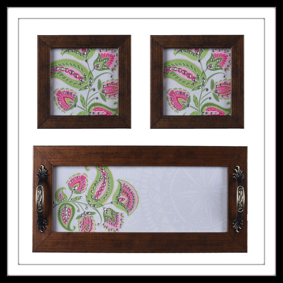 Wooden tray and 2 coasters set in white background with pink floral print, hand embellished with stones. Ideal for gifting or home decor.