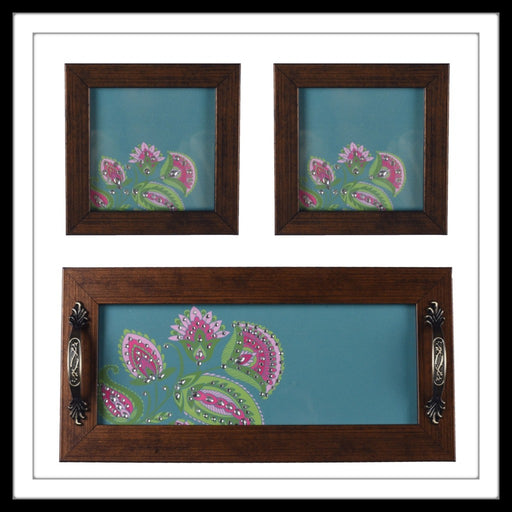Wooden tray and 2 coasters set in teal background with pink floral print, hand embellished with stones. Ideal for gifting or home decor.