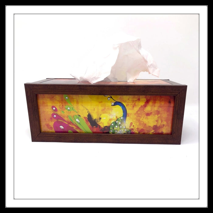 Pink & Yellow Peacock Tissue Box - Footprints Forever