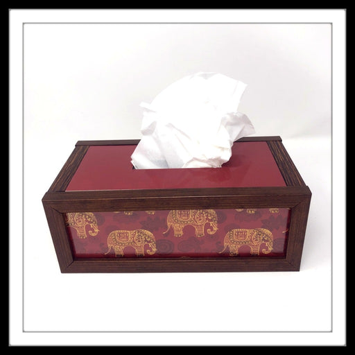 Handmade embellished red wooden tissue box with elephant print