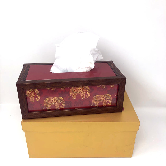 Red Elephant Tissue Box - Footprints Forever