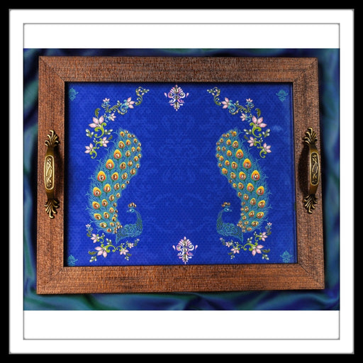 Persian Blue Double Peacock Square Tray - Footprints Forever