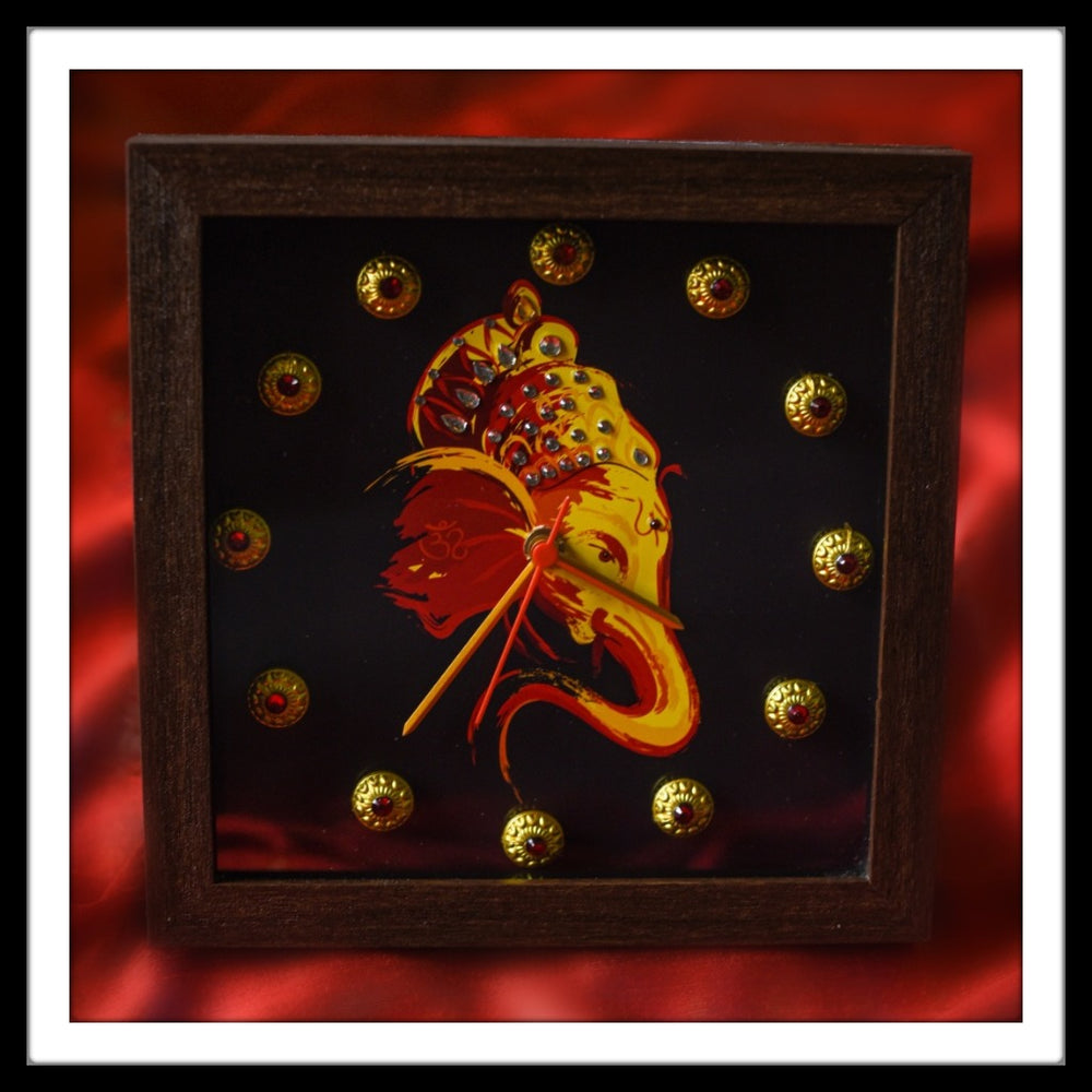 Black, Red & Yellow Ganesha Clock - Footprints Forever