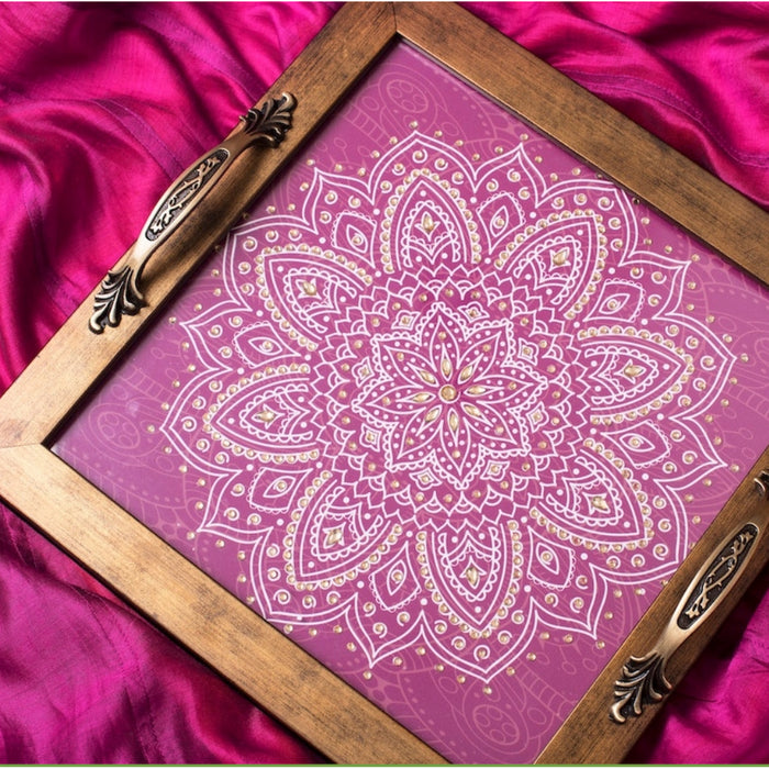 Pink Shibori Square Tray - Footprints Forever