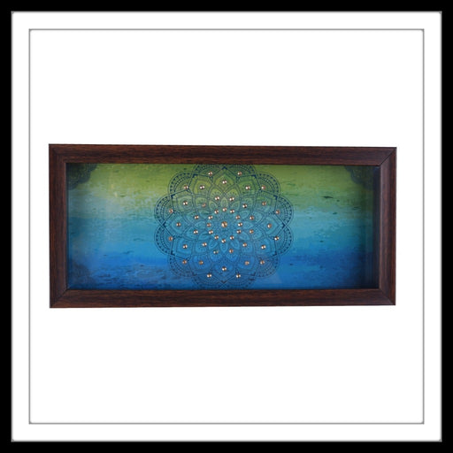 Blue And Green Mandala Box Tray - Footprints Forever