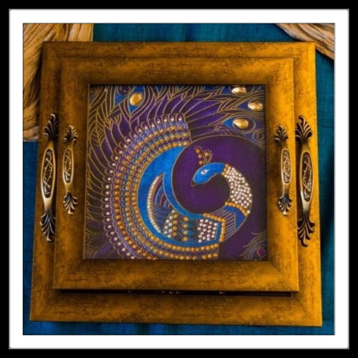 Purple Peacock Tray Square Set - Footprints Forever