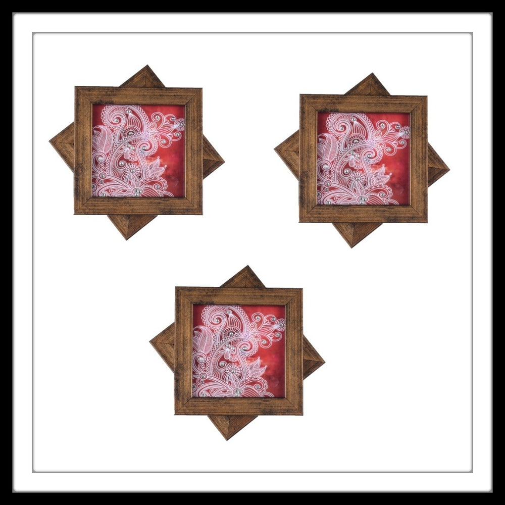 Red & White Paisley  Coasters - Footprints Forever