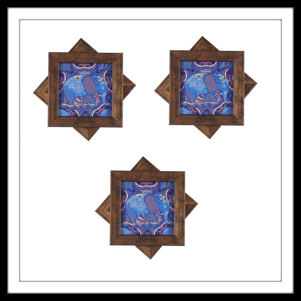 Blue Shaded Elephant  Coasters - Footprints Forever