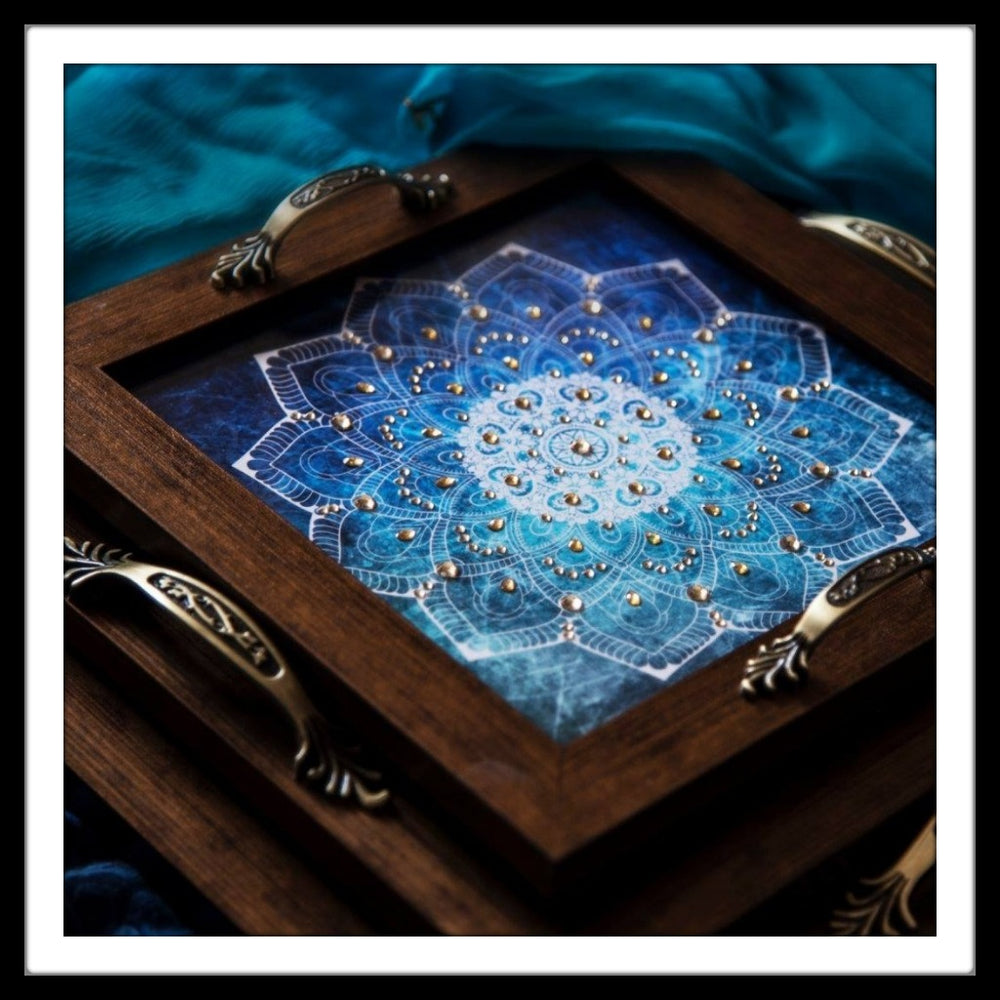 Blue and White Mandala Tray Square Set (3) - Footprints Forever