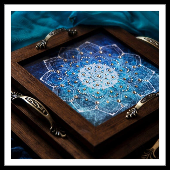 vanity tray set with white mandala on blue background for gifting