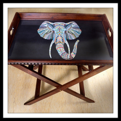Black Elephant Butler Tray with Trestle Stand