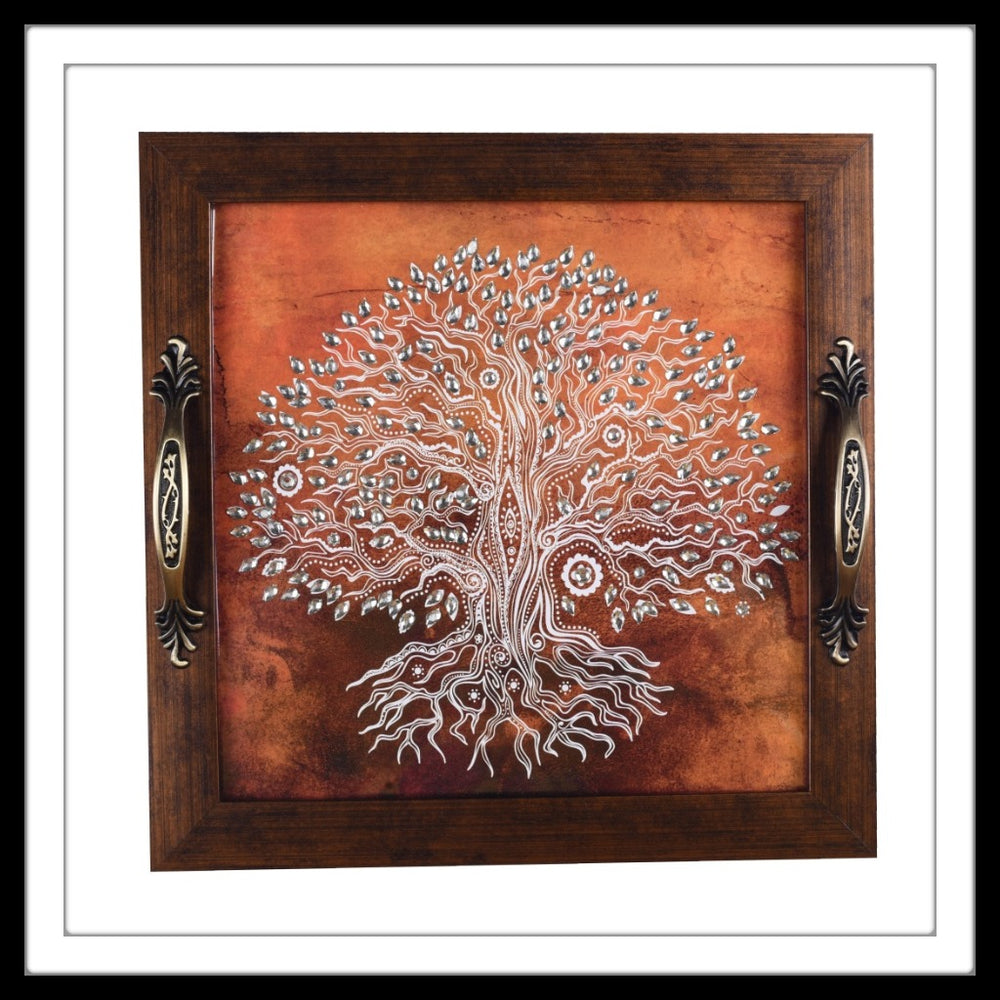 Orange Tree of Life Square Tray - Footprints Forever
