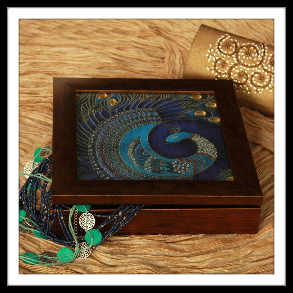 Purple Peacock Jewellery Box - Footprints Forever