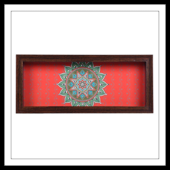 red rectangular handmade multipurpose tray with  central green mandala print, hand embellished with crystals. Ideal for gifting and home decor.